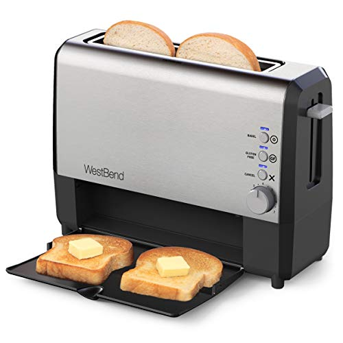West Bend 77222 2 Slice Toaster QuikServe Wide Slot Slide Through with Bagel and Gluten-Free Settings and Cool Touch…