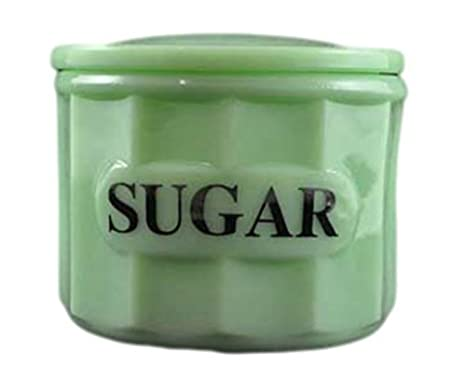 G3370JSU Jadeite Green Glass Panel Pattern Container Canister With Lid    Sugar