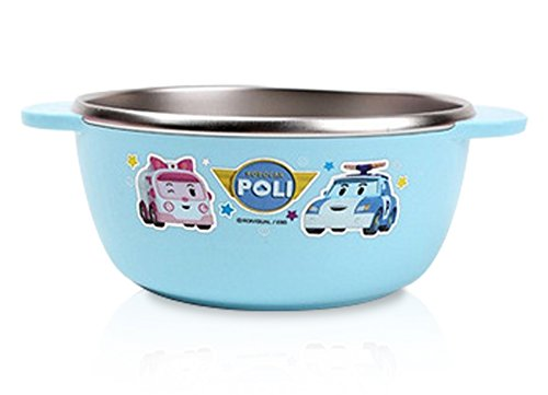 Finex Blue Robocar Poli Non-slip Stainless Steel Bowl for kids (Large)