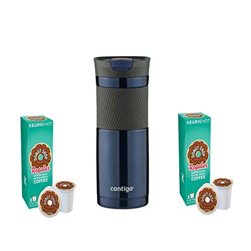 Polar 6 Light Single (The Original Donut Shop Regular K-Cups, 6 pack And Contigo Travel Mug Gift Set Bundle (Monaco))