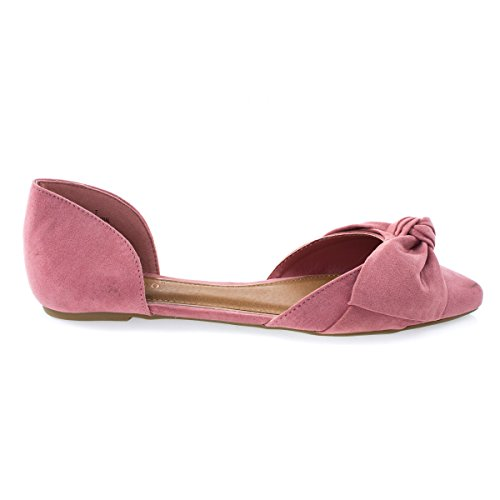 Womens Slip On Pointed Toe DOrsay Double Open Shank Flat w Bow Mauve T4rfkgFm6