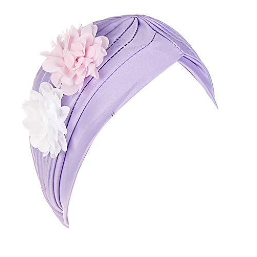(♛TIANMI Hat for Womens,Summer Casual Two Flower India Hat Muslim Ruffle Cancer Chemo Beanie Turban Wrap CapPurple)
