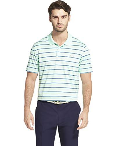 IZOD Men's Golf Prep Stripe Short Sleeve Polo Shirt, Yucca, Medium
