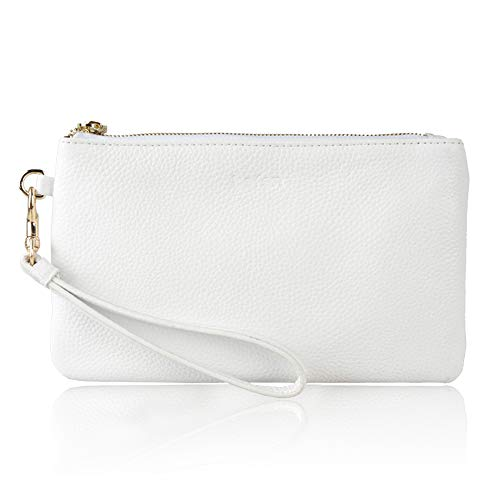 Befen Women Genuine Leather Clutch Wallet, Smartphone Wristlet Purse - Fit iPhone 8 Plus (True White)