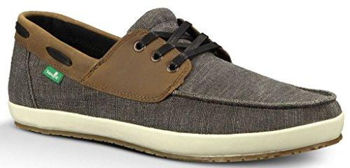 Sanuk Men's CASA Barco Vintage Boat Shoe, Black, 11 M (Canvas Boat Shoe)