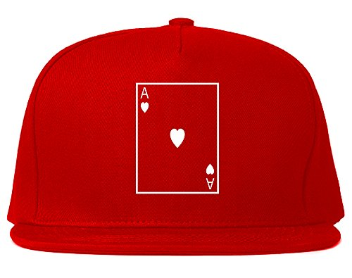 Ace Of Hearts Snapback Hat Cap Red