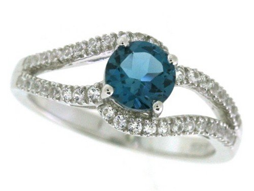Blue Topaz Lab (Sterling Silver London Blue Topaz and Lab Created White Sapphire Ring, Size 8)