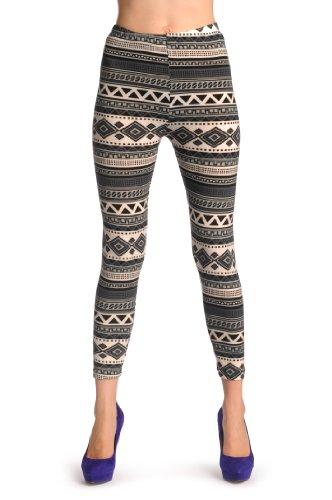 Woven Black, White & Grey Aztec - Gris Leggings Taille Unique (32-38)