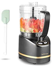La Reveuse Electric Mini Food Processor with 200 Watts,2-Cup Prep Bowl for Mincing,Chopping,Grinding,Blending,Pureeing,Metallic Grey