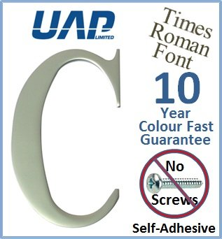 3' Times Roman Self Adhesive Door Letter - Letter C - Silver Anodised (Made from Aluminium) - No Screws Needed UAP