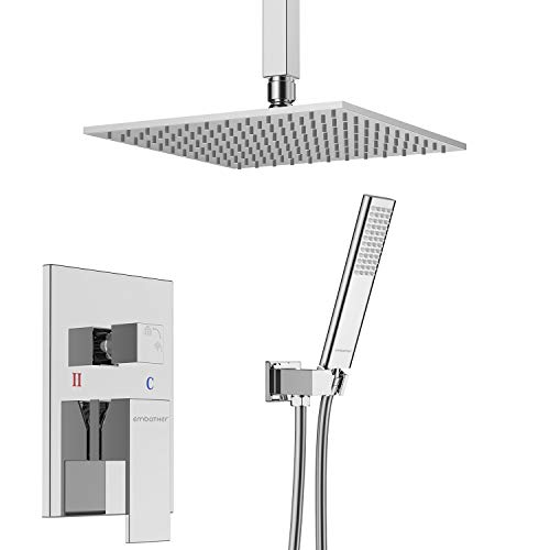 EMBATHER Ceiling Shower System, Bathroom Luxury Shower Combo Set with High Pressure 10 Inch Square Rain Shower Head and Handheld Shower Faucet Set Chrome (Contain Rough-In Valve Body and Trim)
