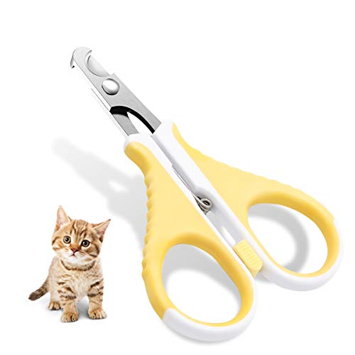 DreamCat Clippers Nail Professional Cat Nail, Best Stainless Steel Cat Claw Toenail Trimmer with Pet Safety Guard & Lock and Special Curve Radian, Essential Grooming Tool for Small Pet (Flat Blade)