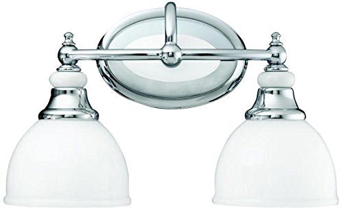 - Kichler 5368CH, Pocelona Reversible Glass Wall Vanity Lighting, 2 Light, 200 Total Watts, Chrome