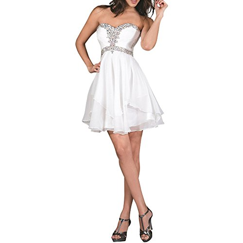 Brau Festlichkleider mia Brautjungfernkleider Cocktailkleider Pailletten Ballkleider Mini Weiß Abendkleider Kurzes La Formalkleider 45ZwT4