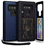 TORU CX PRO Note 9 Wallet Case Blue with Hidden Credit Card Holder ID Slot Hard Cover, Strap, Mirror & USB Adapter for Samsung Galaxy Note 9 (2018) - Navy Blue