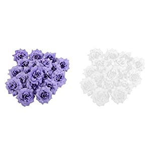 SM SunniMix Pack of 100 Mini Artificial Rose Flower Heads Fabric Wedding Decor White+Purple 57