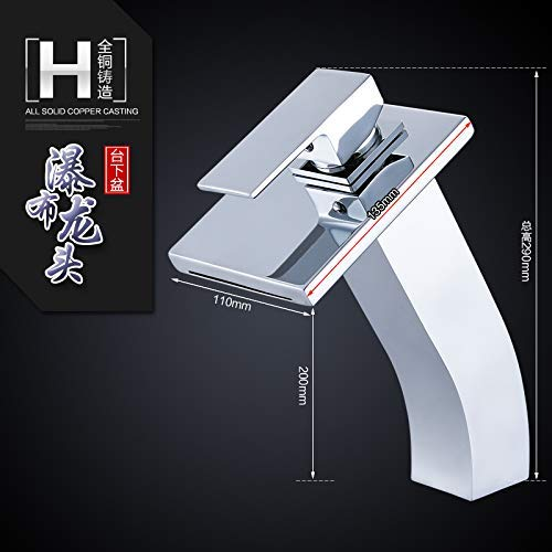 H High (Table Basin) Oudan Basin Mixer Tap Bathroom Sink Faucet The copper surface basin faucet hot and cold water basin wash basin mixer bathroom faucet waterfall faucet with high high,H (color   2016 Chrome Plus High)