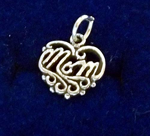 Sterling Silver 12x12mm Mother Mommy says Mom on a Cut Out Heart Charm Vintage Crafting Pendant Jewelry Making Supplies - DIY for Necklace Bracelet Accessories by CharmingSS