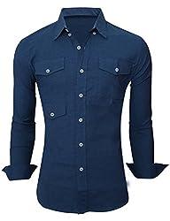 Tom's Ware Mens Stylish Plain Button Down Longsleeve Shirts TWNEL632-TEALBLUE-M/L