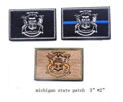 3pcs Michigan State FLAG TACTICAL US ARMY USA MILITARY MORALE VELCRO PATCH (a set) (4)