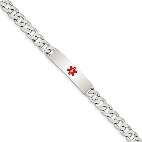 - 925 Sterling Silver Medical Alert Curb Link Id Bracelet 7.5 Inch Fine Jewelry Gifts For Women For Her