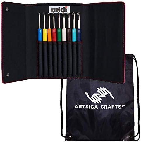 [해외]addi 뜨개질 바늘 크로셰 후크 색상 세트 번들 Artsiga Crafts 프로젝트 가방 1개 포함 / addi Knitting Needles Crochet Hook Colours Set Bundle1 Artsiga Crafts Project Bag