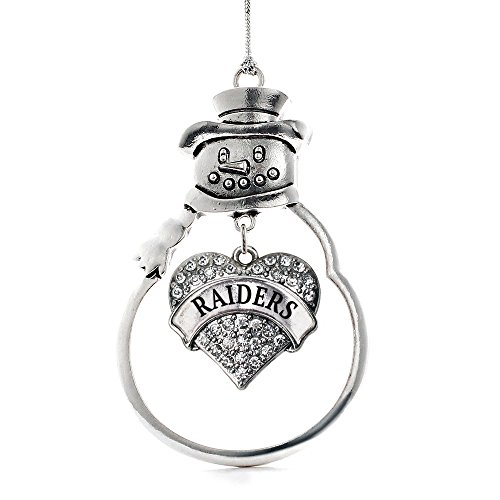 - Inspired Silver - Raiders Charm Ornament - Silver Pave Heart Charm Snowman Ornament with Cubic Zirconia Jewelry