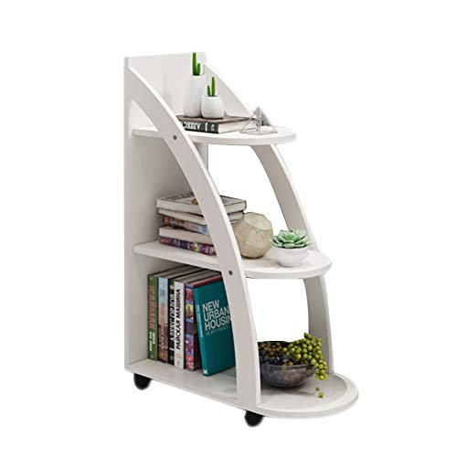 HM&DX Wood Bookcase with Wheels, 3-Tier Storage Bookshelf Ladder Versatile Sofa Side Table Display Rack for Home Office -White