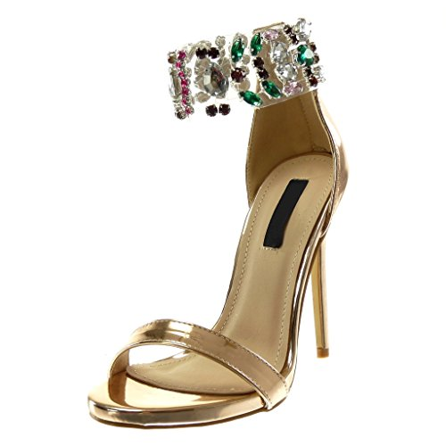 Angkorly Women's Fashion Shoes Sandals Pump Court Shoes - Stiletto - High - Jewelry - Transparent - Thong Stiletto High Heel 12 cm Champagne pn1yCv3IlA