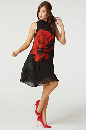 Printemps Simple Roses Crmonie Confortable Originals de Mariage Taille imprim Mousseline Grande Noir Femme Rouge Ete Robe Soore Roman Rouge B1Z7YWZ