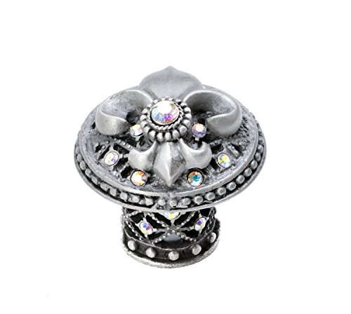 (Carpe Diem Hardware 7609-11AB Versailles Large Round Knob Fleur De Lys Decorative Column Foot with Swarovski Crystals,)
