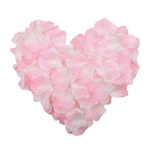 NEO LOONS 1000 Pcs Artificial Silk Rose Petals Decoration Wedding Party Color Light Pink & White ()