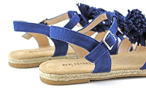 Modelisa - Sandalia Plana Pompon Mujer Azul