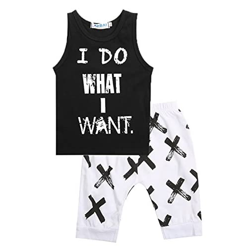 2pcs Newborn Toddler Kids Baby Boys Girls Black T-Shirt Tops+White Cross Print Pants Outfits Clothes Set