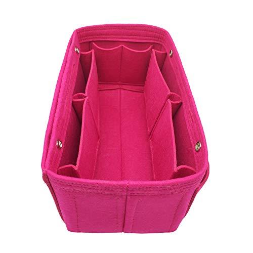 LEXSION Felt Fabric Purse Handbag Organizer Bag - MultiPocket Insert Bag 8008 Rosy XL