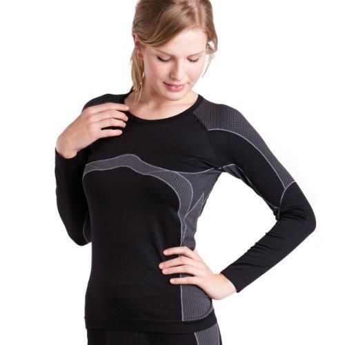 Damen Thermo Funktionsshirt Langarm schwarz/grau Größe S / M