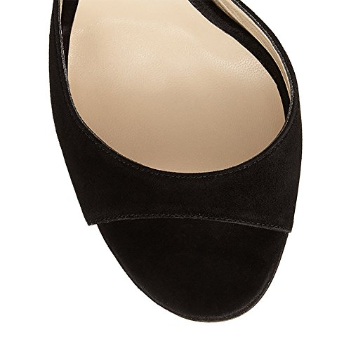 Manuale Zhang8 Nero Banchetto Beige Sandali Toe Open black 37 Vestito Scamosciato Donna Rosa qqwA6