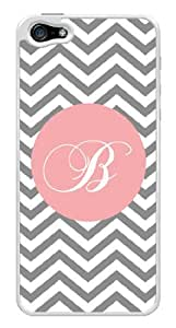 Pink Initial B - Gray Chevron Zig Zag Monogram Snap-On Cover Hard Plastic Case for iPhone 5/5S (White)