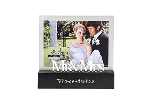 Malden International Designs Celebrated Moments Mr. and Mrs.Black Wood Picture Frame, 5x7, ()