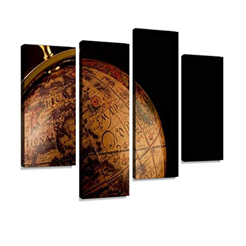 - A Closeup of an Old Style Globe with a Black Background Canvas Wall Art Painting Pictures Modern Artwork Framed Posters for Living Room Ready to Hang Home Decor 4PANEL