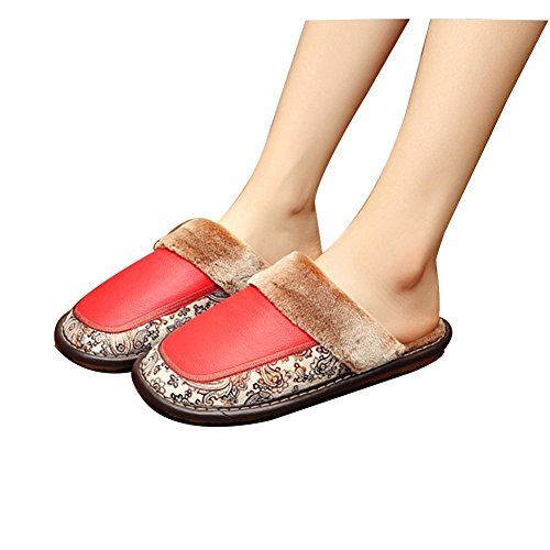 TELLW Winter Lovers Leather Slippers Indoor Cowhide Men and Women Plush Shoes Waterproof Slippers Red OaftS