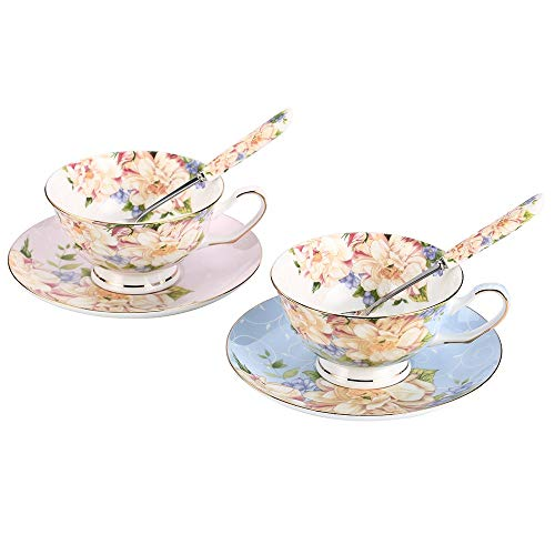 JinGlory Tea Cups,Floral Tea Cups and Suacers Set with Spoon,Bone China Tea Set of 2,Coffee Cups,Tea Set for Adults/Friends/Lover,7OZ(Blue/Pink) (Best Bone China Tea Set)