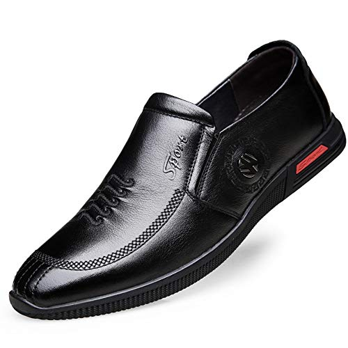 Transpirable Genuin Office para Derby 39 Hombres Negro tamaño Business Casuales Fashion Zapatos Leather Color Qiusa EU qYwTza