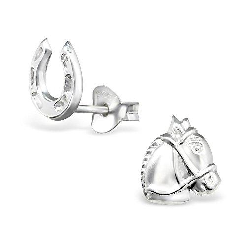 Horse Head Earrings (925 Sterling Silver Horse Head & Horseshoe Stud Earrings 30246)
