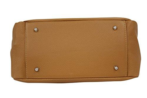 main Ambra Sac à Shopper bandoulière véritable en cuir Camel Moda Sac GL002 nOOT6qxwtr