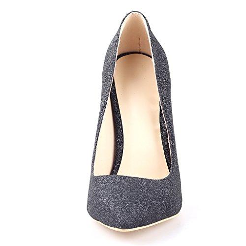 Mavirs High Heels, Women Pumps Pointed Toe Pumps High Heel Stilettos Slip-On Dress Shoes For Party Black Glitter