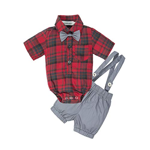 BIG ELEPHANT Baby Boys' 2 Piece T-Shirt Suspender Shorts Clothing Set Red -