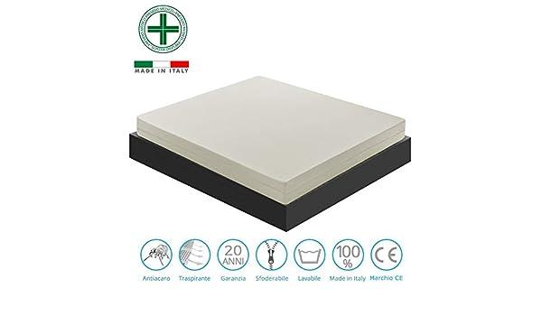 Materassiedoghe - Colchón de Memory Foam con 5 cm de espuma viscoelástica, altura 25 cm, mod. Courmayeur - ortopédico - Banda de microfibra, mod.