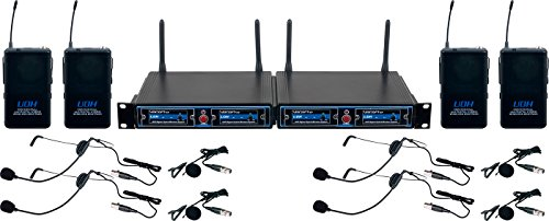 - VocoPro UDHPLAY4 FOUR CHANNEL UHF Headset & Lapel Wireless Microphone Package with Mic-on-chip technology