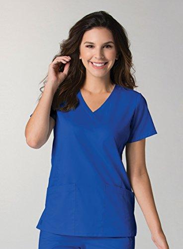 maevn-womens-eon-back-mesh-panel-shaped-v-neck-scrub-top-royal-blue-x-large